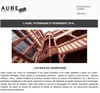 Newsletter février 2016 – L'Aube patrimoine et évènement 2016