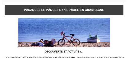 Newsletter Mars 2016 – Vacances de Pâques dans l'Aube
