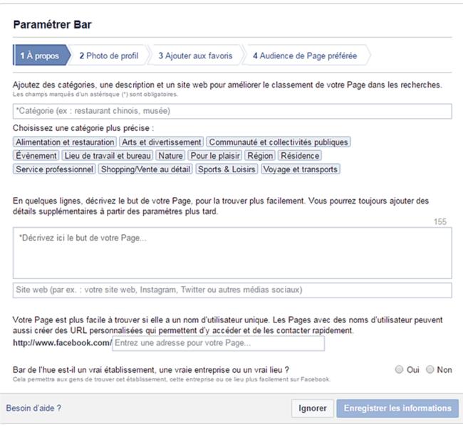 Paramétrage Facebook