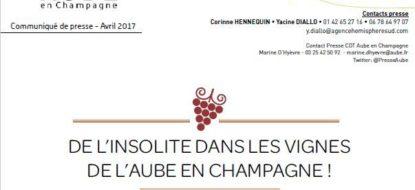 Communiqué de presse – Avril 2017 – De l'insolite dans les vignes