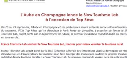 Communiqué de presse – Septembre 2017 – Slow Tourisme Lab