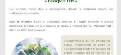 Communiqué de presse – Novembre 2017 – Passeport Vert