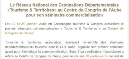 Communiqué de presse – Janvier 2018 – Tourisme & Territoire